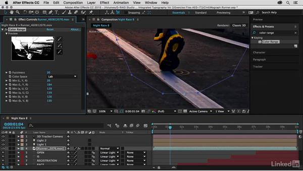 Masking the runner using Color Range: After Effects Guru: Integrating Type into Video Volume 2