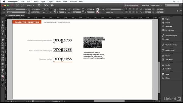 Underline and strikethru type: InDesign Typography Part 1