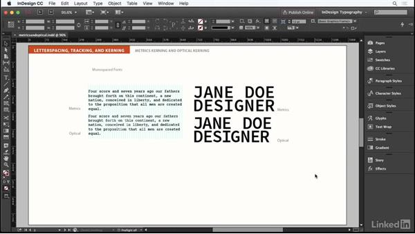 Metrics kerning and optical kerning: InDesign Typography Part 1