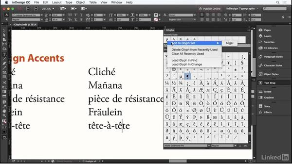 Using the Glyphs panel: InDesign Typography Part 1