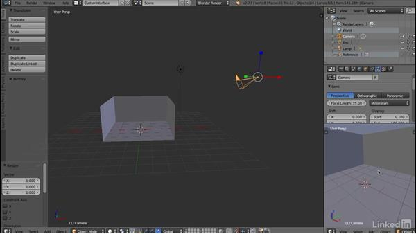 Configuring a preview camera: Blender: Interior Environments for Games