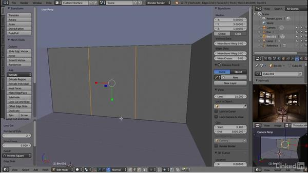 Blocking out the window wall: Blender: Interior Environments for Games