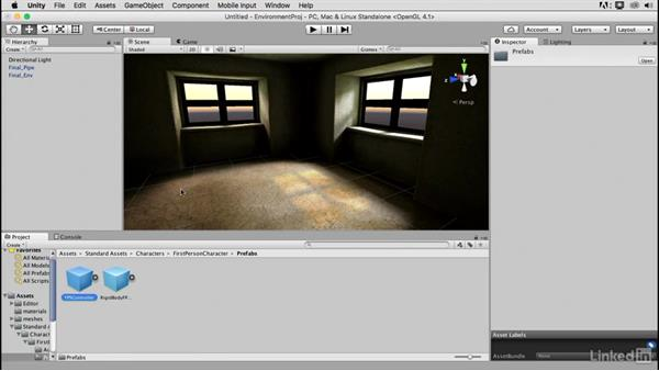 Adding a first-person controller: Blender: Interior Environments for Games