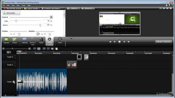 Stitching clips: Learn Camtasia: Advanced Techniques