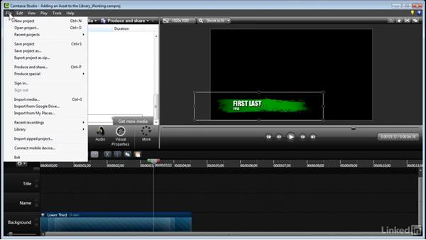 Adding an asset to your library: Learn Camtasia: Advanced Techniques