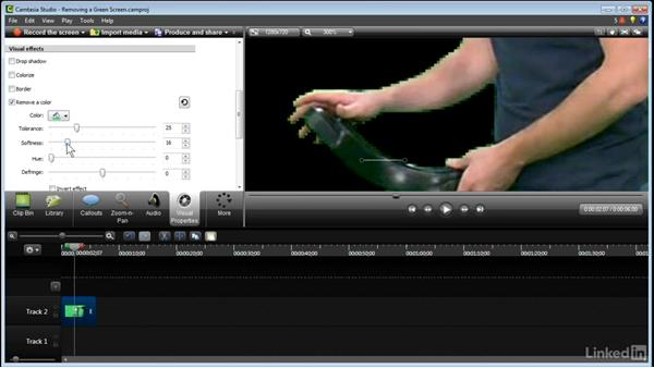 Removing a green screen: Learn Camtasia: Advanced Techniques