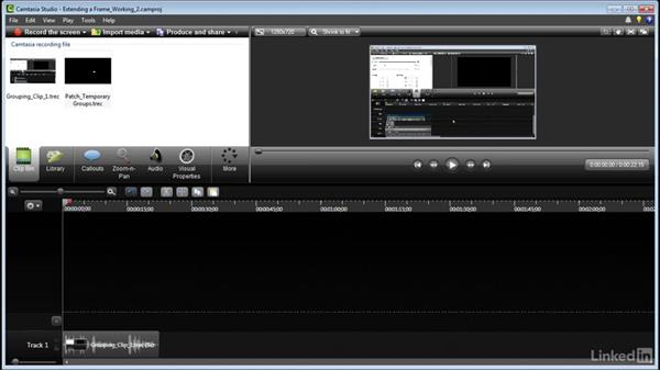 Extending a frame: Learn Camtasia: Advanced Techniques