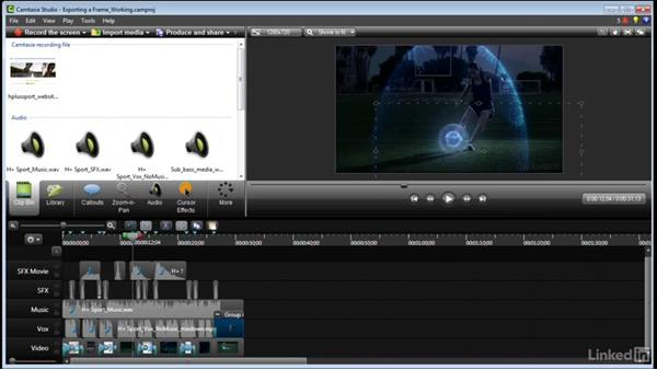 Exporting a frame: Learn Camtasia: Advanced Techniques