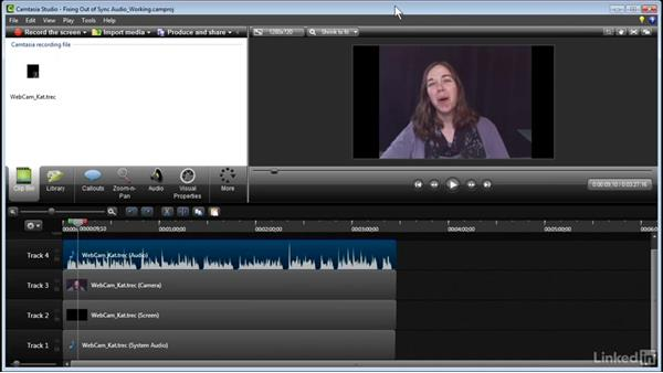 Fixing out-of-sync audio: Learn Camtasia: Advanced Techniques