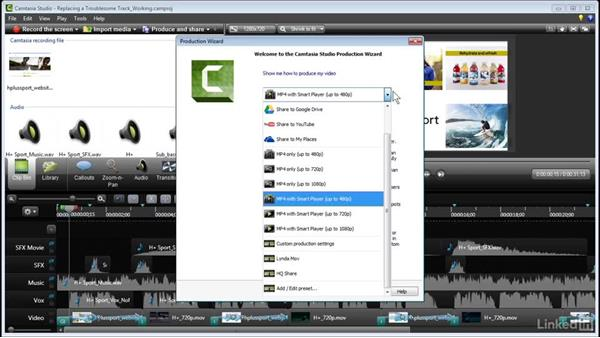 Replacing a troublesome track: Learn Camtasia: Advanced Techniques