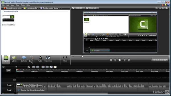 Exporting for collaboration or archive: Learn Camtasia: Advanced Techniques