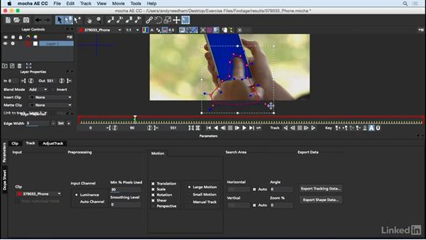 Rotoscope the finger in Mocha: After Effects: Compositing a Cell Phone