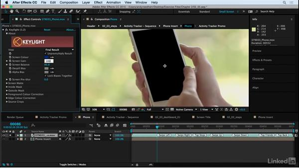 Key the screen: After Effects: Compositing a Cell Phone