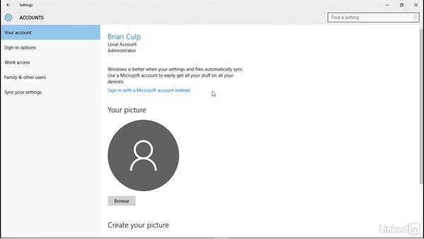 Microsoft accounts with a local accounts: Windows 10: Manage Identity