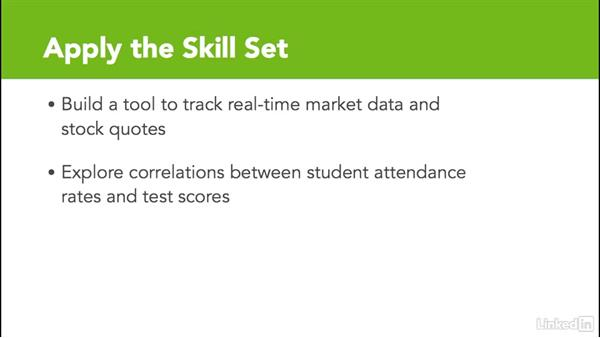 Apply the skill set: Excel Workshop: Working with Real-Time Data