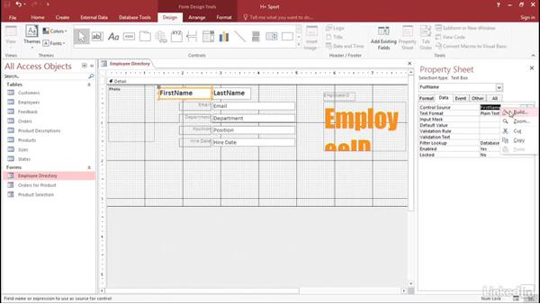 Combine text boxes: Access 2016: Forms and Reports in Depth