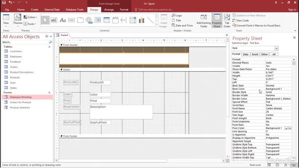 Solution: Exploring form properties: Access 2016: Forms and Reports in Depth