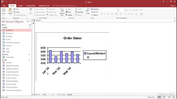 Display a chart: Access 2016: Forms and Reports in Depth
