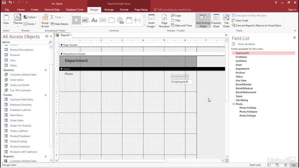 Solution: Create an employee report: Access 2016: Forms and Reports in Depth