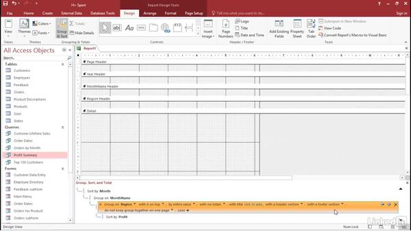 Create the report structure: Access 2016: Forms and Reports in Depth