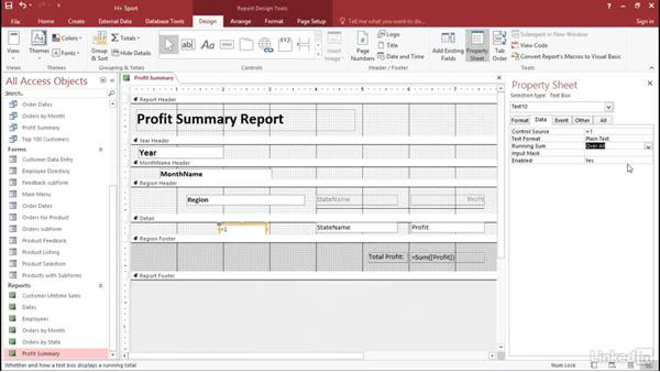 Add line numbers to the report: Access 2016: Forms and Reports in Depth
