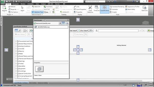 Project setup and docking the dialog: Navisworks Quantification