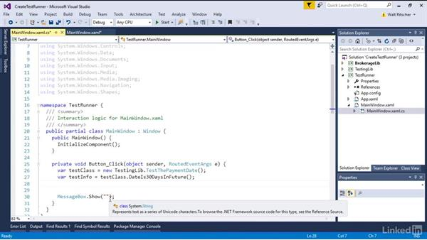Create a simple test runner: Visual Studio 2015 Essentials 09: Unit Tests