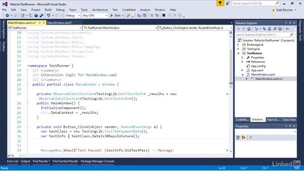 Refactor the test runner: Visual Studio 2015 Essentials 09: Unit Tests