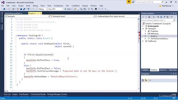 Create an Assert class: Visual Studio 2015 Essentials 09: Unit Tests