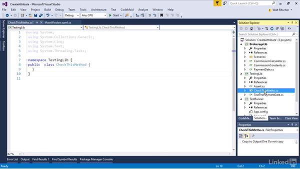 Add an attribute to the Assert class: Visual Studio 2015 Essentials 09: Unit Tests