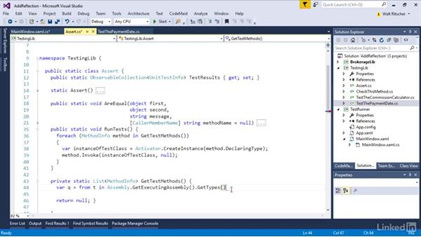 Use reflection to call the test methods: Visual Studio 2015 Essentials 09: Unit Tests