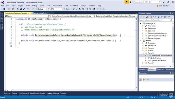 Choose a naming convention: Visual Studio 2015 Essentials 09: Unit Tests