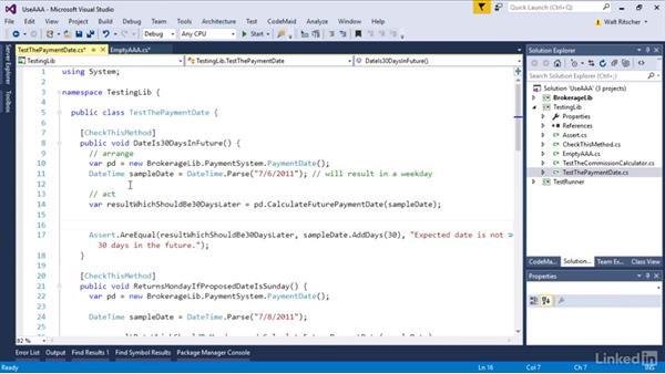 The Arrange, Act, Assert test pattern: Visual Studio 2015 Essentials 09: Unit Tests