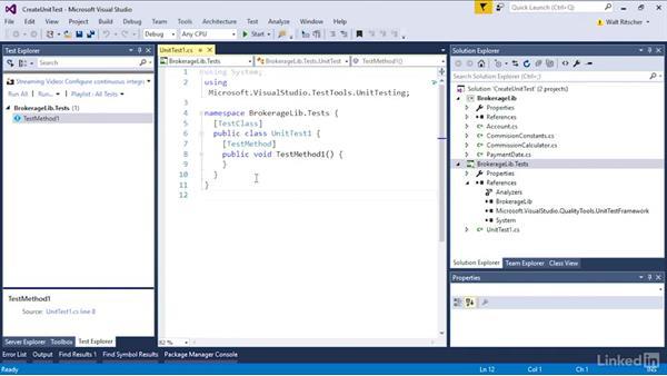 Create the unit test: Visual Studio 2015 Essentials 09: Unit Tests