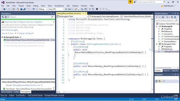 Run the unit test: Visual Studio 2015 Essentials 09: Unit Tests