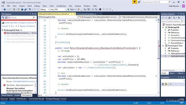Expected exceptions: Visual Studio 2015 Essentials 09: Unit Tests