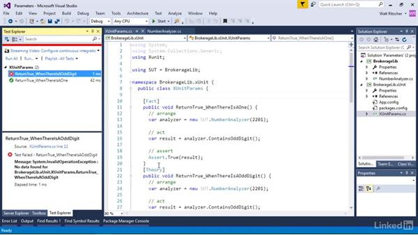 Test parameters with InlineData: Visual Studio 2015 Essentials 09: Unit Tests
