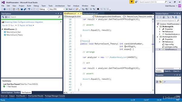Test multiple parameters: Visual Studio 2015 Essentials 09: Unit Tests