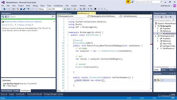 Provide parameter values with a custom class member: Visual Studio 2015 Essentials 09: Unit Tests