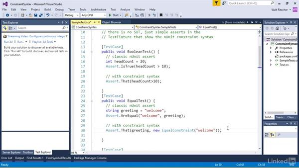 Use the nUnit constraints: Visual Studio 2015 Essentials 09: Unit Tests