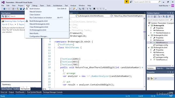 Test parameters: Visual Studio 2015 Essentials 09: Unit Tests
