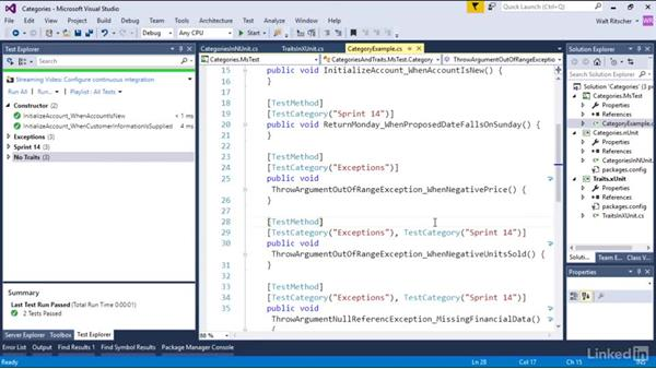 Group the test with test categories: Visual Studio 2015 Essentials 09: Unit Tests
