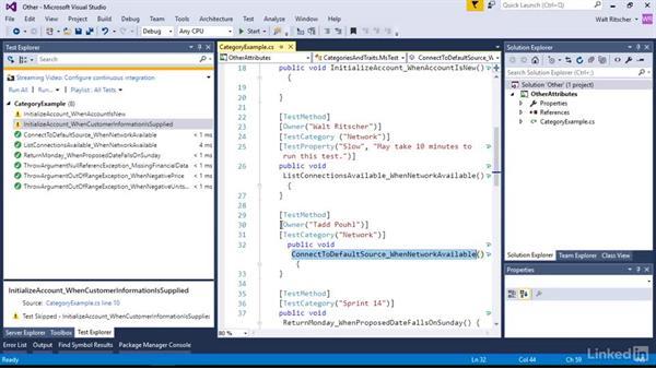 Use additional test attributes: Visual Studio 2015 Essentials 09: Unit Tests