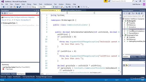 Use the test menus: Visual Studio 2015 Essentials 09: Unit Tests
