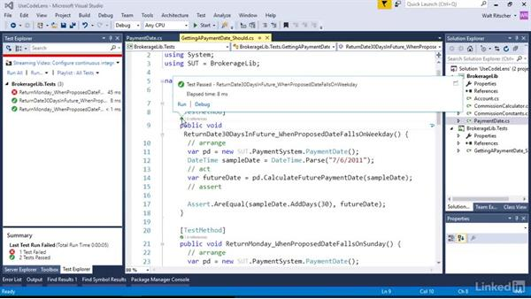 View unit test results with CodeLens: Visual Studio 2015 Essentials 09: Unit Tests