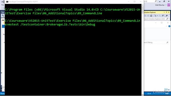 Run test from the command line with MSTest: Visual Studio 2015 Essentials 09: Unit Tests