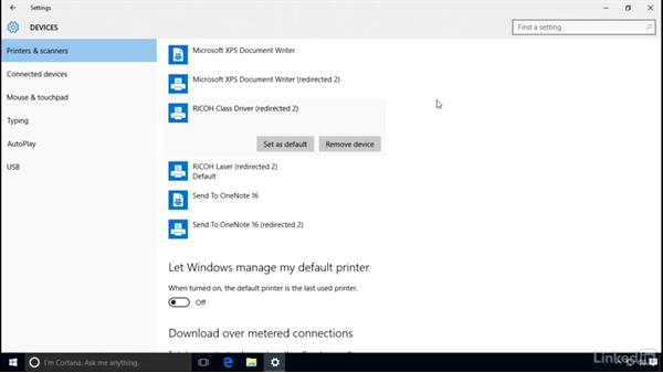 Manage default printers: Windows 10 Networking Fundamentals