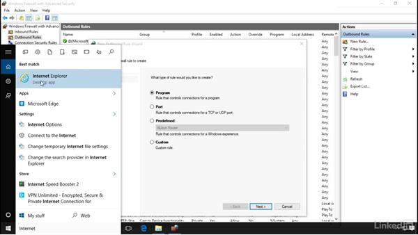 Create an outbound program rule: Windows 10 Networking Fundamentals