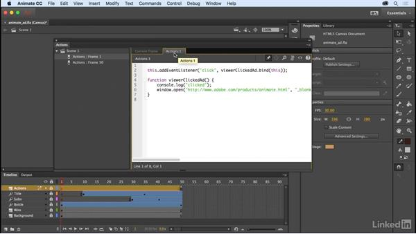 Pin script in Actions panel: Adobe Animate CC: New Features