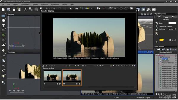 Directing sunlight: VUE: Animating a Landscape